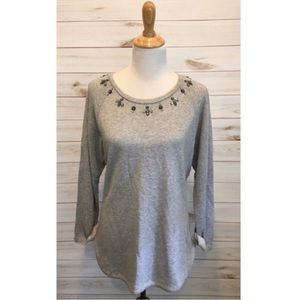 NWT C. Wonder Embellished Beaded Gray Sweater